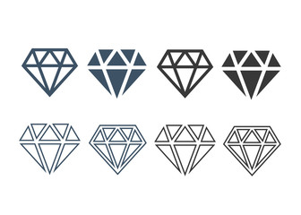 Diamond icons set. Diamond sign set vector