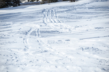 Snow traces in Dolomites Mountains