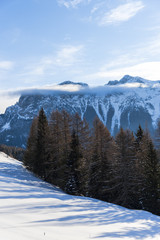 Winter landscape in Dolomites Mountains, Italy