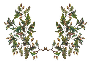 Watercolor oak branch decoration
