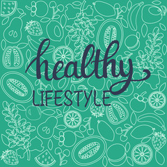 healthy food poster or banner and text healthy lifestyle