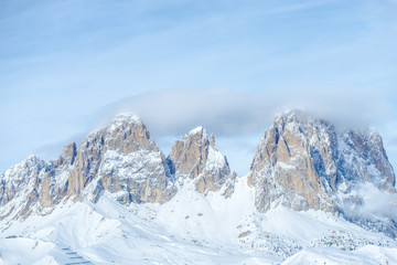 Peak of Dolomites Mountains in the winter