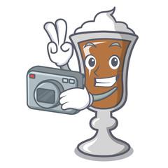 Photographer irish coffee mascot cartoon