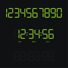 Digital clock and numbers. Vector modern illustration.