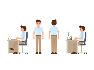 Friendly office worker sitting at the desk, standing. Vector illustration of manager in smart casual look
