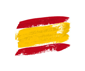 Flag of Spain made of brush strokes. Vector design element.