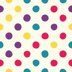 Seamless polka dot pattern with beige background. Vector repeating texture.