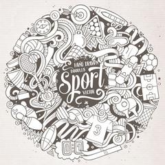 Cartoon cute doodles hand drawn Sport illustration