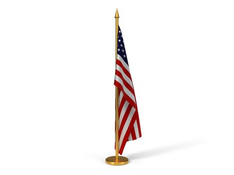 indoor amarican flag with golden rode. 3d illustration
