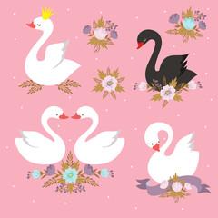 Beautiful white princess swan with crown. Cartoon goose, duck bird vector set