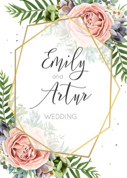 Wedding Invitation, floral invite, save the date card vector Design. Watercolor Peach lavender pink garden Rose, succulent, eucalyptus, green palm leaves greenery, transparent geometrical golden frame