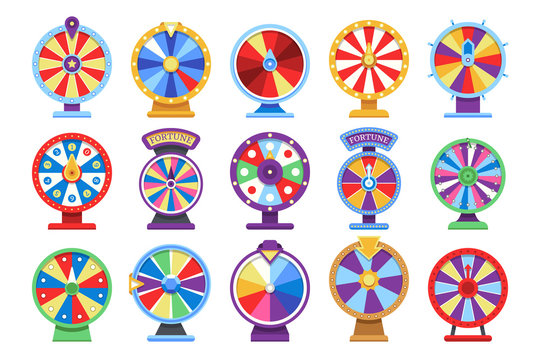 Fortune wheels flat icons set. Spin lucky wheel casino money game symbols