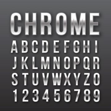 Font letters numbers chrome effect vector
