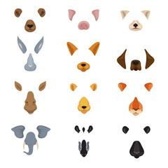Funny animal faces for phone video chart app. Cartoon animals ears and noses vector set