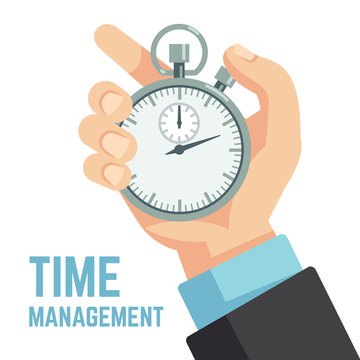 Businessman hand holding stopwatch or clock. Deadline, punctuality and time management business vector concept