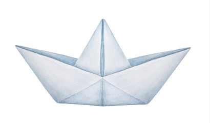 Watercolour illustration of classic folded paper boat. One single object, side view. Symbol of childhood, dreams, travel, freedom. Handdrawn water color painting on white background, cut out clip art.