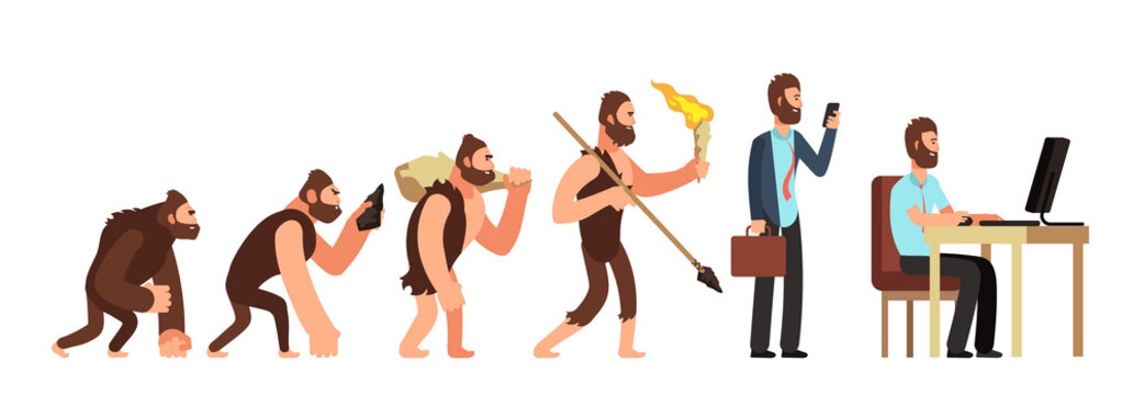 Human evolution. From monkey to businessman and computer user. Cartoon vector characters