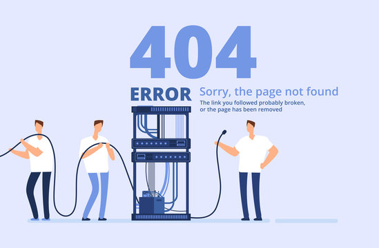 Page 404 error concept. Sorry, page not found web site template with server and network administrators. Vector background