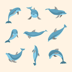 Cartoon Characters Funny Dolphin Set. Vector