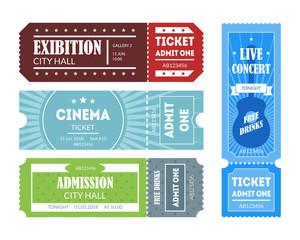 Cartoon Color Mockup Template Tickets Set. Vector