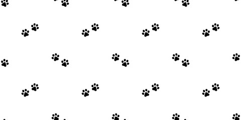 dog paw seamless pattern footprint vector french bulldog walking tile background repeat wallpaper scarf isolated white