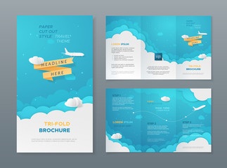 Vector travel tri-fold brochure with 3d scene with paper cut objects (airplane, clouds and ribbon). Template in paper style for design of flyers, booklets, leaflets. Carving art with blue background.