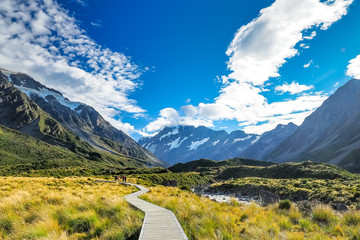 The famous landscape of Hooker Valley Track at Mt Cook National Park in New Zealand.