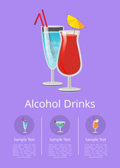 Alcohol Drinks Advertising Poster Icons Beverages