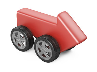 Red arrow on a car wheel. Fast delivery - concept.