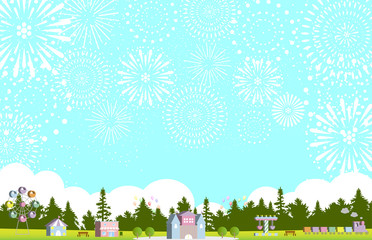 花火 森の遊園地 イラスト