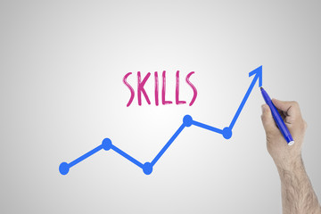 Growing skills concept on white board. Businessman draw accelerating line of improving skills...