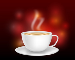 premium white ceramic coffee cup on bokeh background.cappuccino in white ceramic cup.realistic 3d vector design.