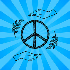 International Peace Day Vector Illustration Blue