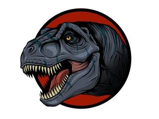 Illustrazione della testa di un dinosauro fatta in stile vettoriale