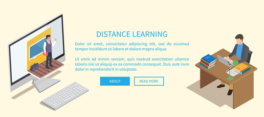 Distance Learning Banner with Teacher and Student