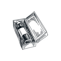 vector hand drawn wine box Illustration