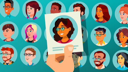Human Recruitment Vector. Woman. Human Recruitment. Selected Group Of People. Pick From The Crowd. Cartoon Illustration