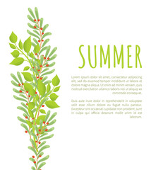 Summer Poster Green Branches Leaves and Berries