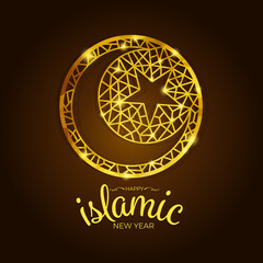 Happy islamic new year banner with abstract gold line moon and star in circle vector design