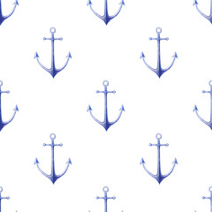 Nautical watercolor seamless pattern with sea anchors