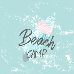 Cute vector Summer illustration with surf board and calligraphic text on seascaped shape of heart background. Tropical summer old fashionedl sticker or sign border