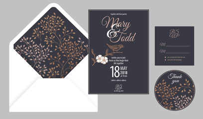 Invitations, thank you, rsvp templates cards and cover with flowers and bird.