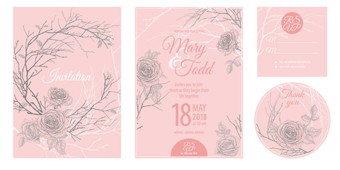 Invitations, thank you, rsvp templates cards with flowers roses.