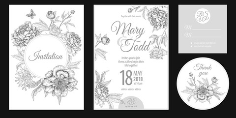 Invitations, thank you, rsvp templates cards with flowers peonies.