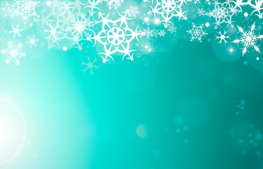Illustration of a green and white Christmas snowflake pattern, textured abstract background.