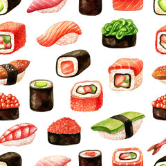 Seamless pattern with sushi, sashimi and rolls