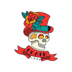 Human skull in top hat with flowers, ribbon and word Death, classic American old school tattoo logo design vector Illustration on a white background