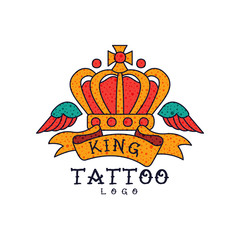 Crown, wings, ribbon and word King, classic American old school tattoo logo design vector Illustration on a white background