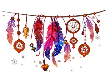 Background border with feathers and crystals