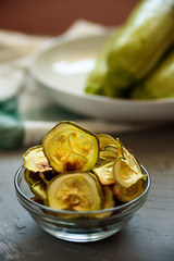 Healthy snack - baked zucchini chips